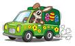 Easter Bunny Driving Van