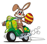 Fototapety Easter Bunny Driving Scooter