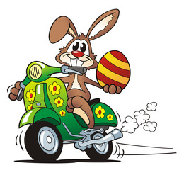 Easter Bunny Driving Scooter