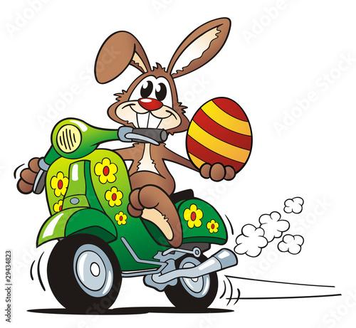 Leinwandbild Motiv Easter Bunny Driving Scooter