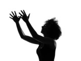 young afro american woman silhouette happy imploring