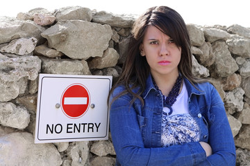 Cute NO ENTRY Girl