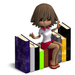 cute little cartoon school girl with many books. 3D rendering