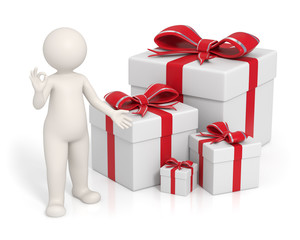 3d man - Red gift boxes