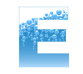 Bubbles and Water Isolated Alphabet Letter E