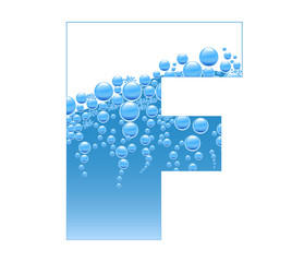 Bubbles and Water Isolated Alphabet Letter F bis
