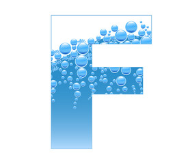 Bubbles and Water Isolated Alphabet Letter F
