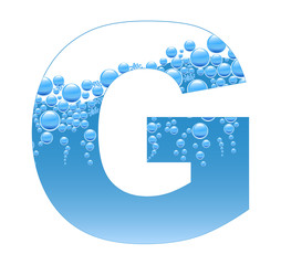 Bubbles and Water Isolated Alphabet Letter G