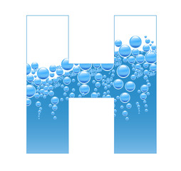 Bubbles and Water Isolated Alphabet Letter H