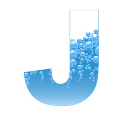 Bubbles and Water Isolated Alphabet Letter J