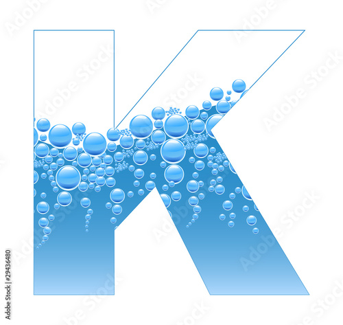 Bubbles and Water Isolated Alphabet Letter K