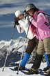 Schneeschuhwanderer in den schweizer Alpen