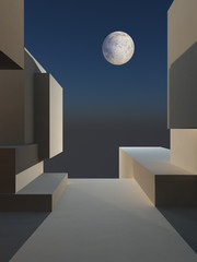 Abstract Cube Stage with Moon