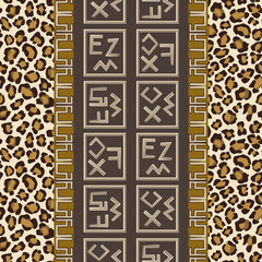 Seamless pattern with abstract signs and leopard skin