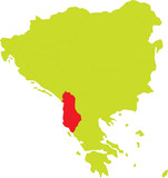 Vector map of Balkan peninsula - Albania highlighted in red poster