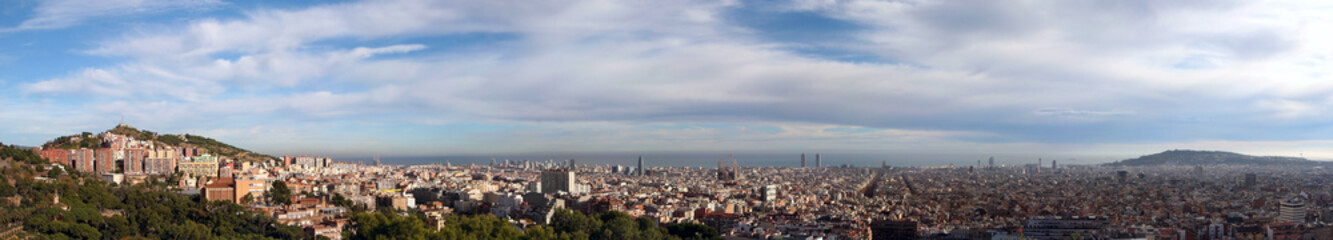 Panoramic View at City of Barcelona, Spain