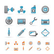 Realistic Car Parts and Services icons - Vector Icon Set