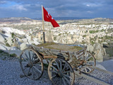old cart with the Turkish flag on the outskirts poster
