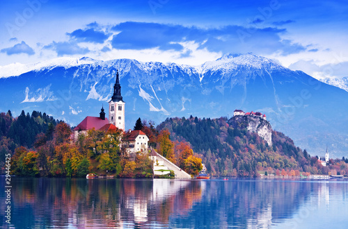 Foto op Canvas Alpen Bled with lake, island, Slovenia, Europe