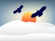illustration of eagles flying in sunset