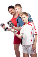 Father and two sons in sport