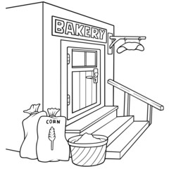 Bakery - Black and White Cartoon illustration