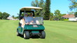 Senior Couple on Golf Course in Buggy
