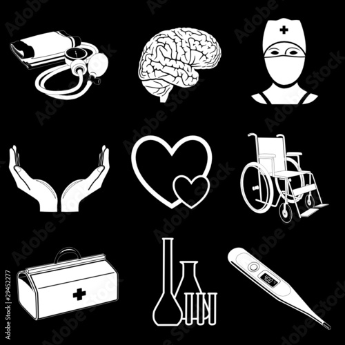 Vector icons of medical elements