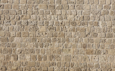 Beautiful coral and limestone brick wall in Bahrain fort