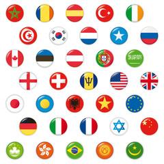 Set of world flags. Vector button