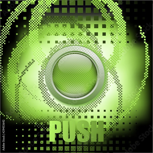 """Push the button"", abstract green vector background"