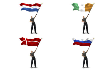 Bandiere olanda irlanda danimarca russia