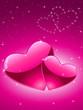 Valentinskarte mit 2 Herzen