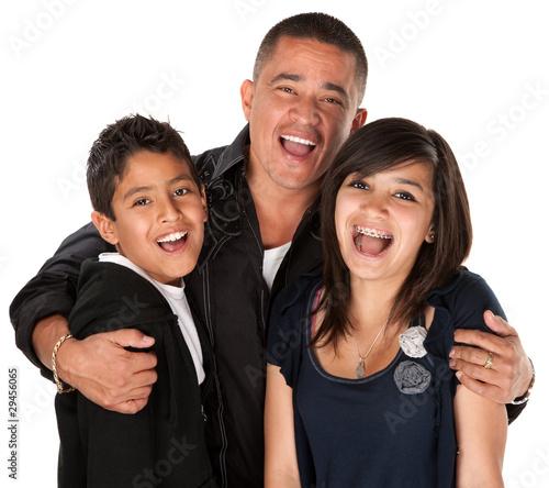 Hispanic Father Hugging Kids