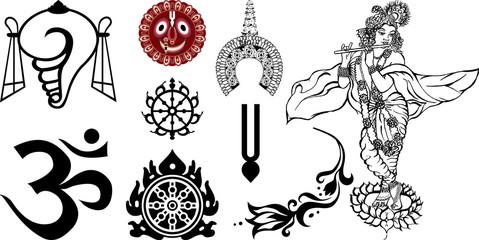 Знаки и символы Востока и Индии для декора