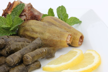 Stuffed Vine Leaves and Zucchini