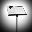 music stand and sheet music