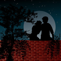 Night scene with two lovers sitting on the wall