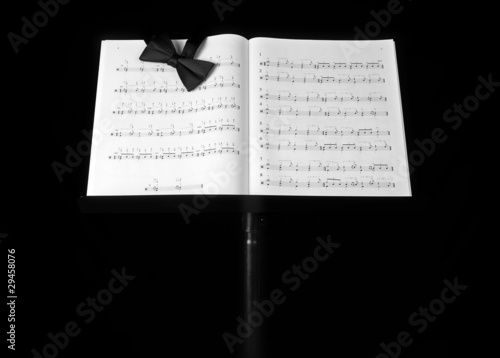 music stand on black