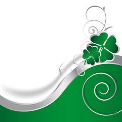 Good Luck - grüner Glücksklee mit Spiralen für Grusskarte