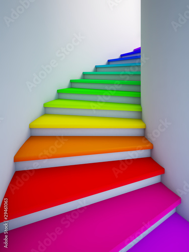 Fototapety, obrazy : Spiral colorful stair to the future.