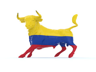 colombian bull with flag