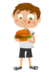 boy eating hamburger vector