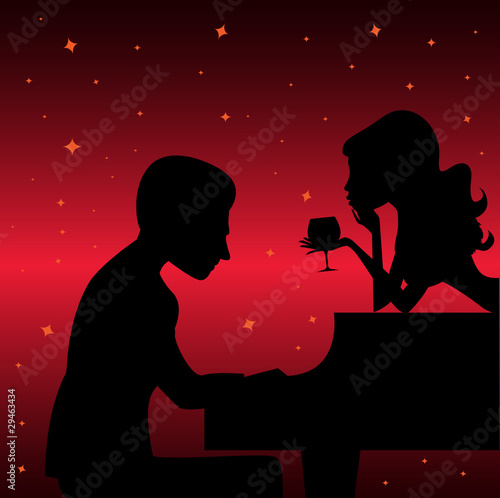 piano player with woman