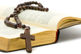 Rosary with holy bible