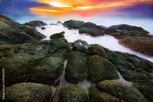 Tropical sunset at the rocks. Thailand