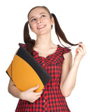smiling student woman in bright blouse  with note pad