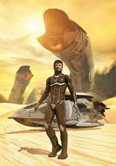 futuristic soldier desert dune