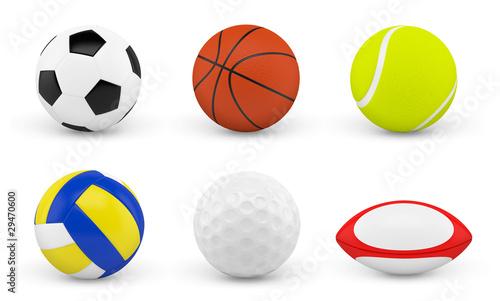 Balles et ballons sur fond blanc 1