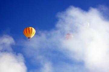 Hot air balloons in morning mist